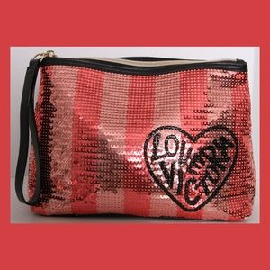LOVE VICTORIA Pink Stripes Sequin Cosmetic Bag